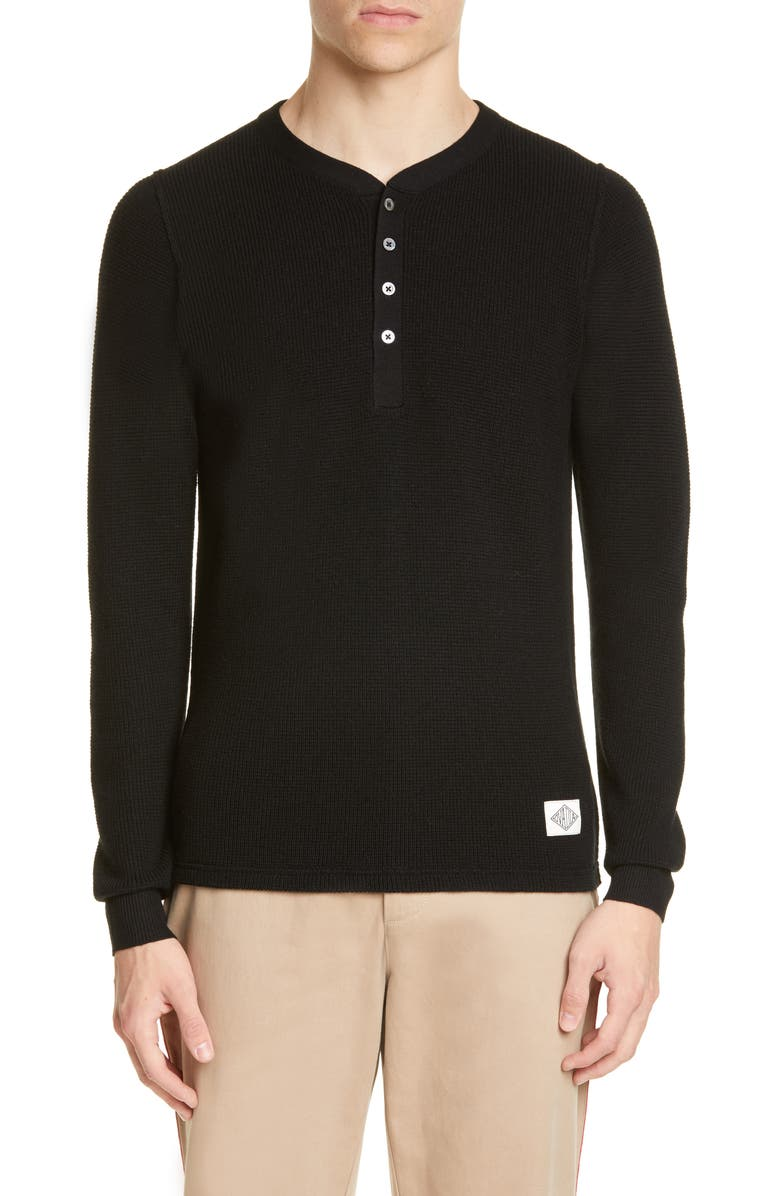 OVADIA & SONS Zack Waffle Merino Wool Henley, Main, color, BLACK