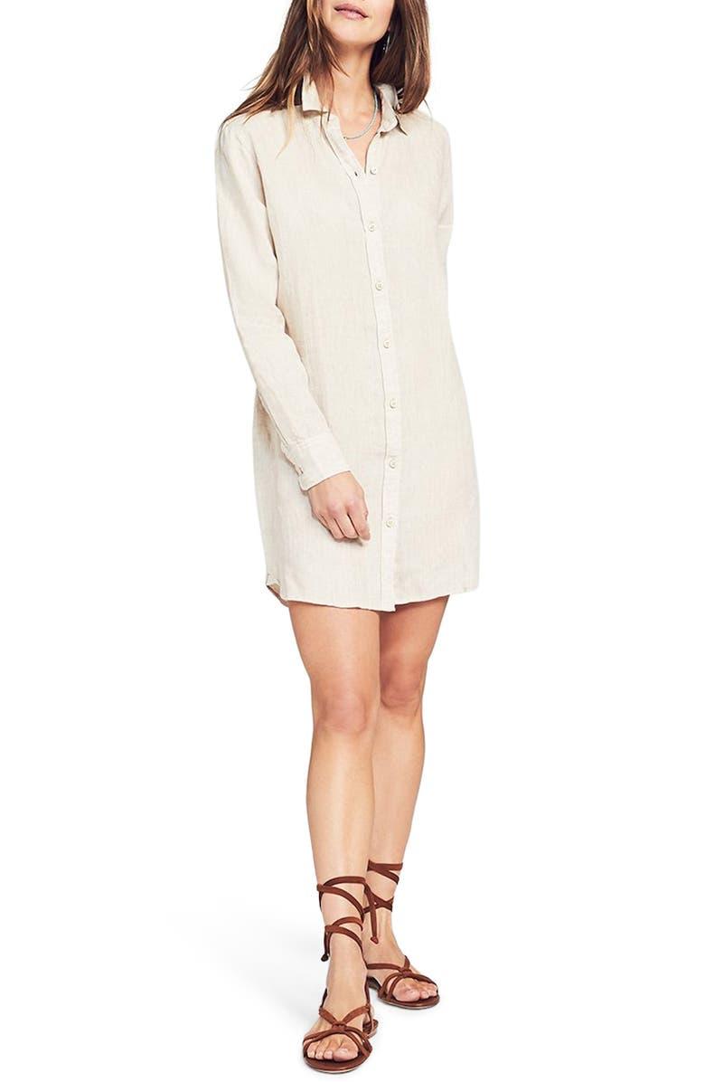 FAHERTY Gavin Long Sleeve Linen Shirtdress, Main, color, FLAX