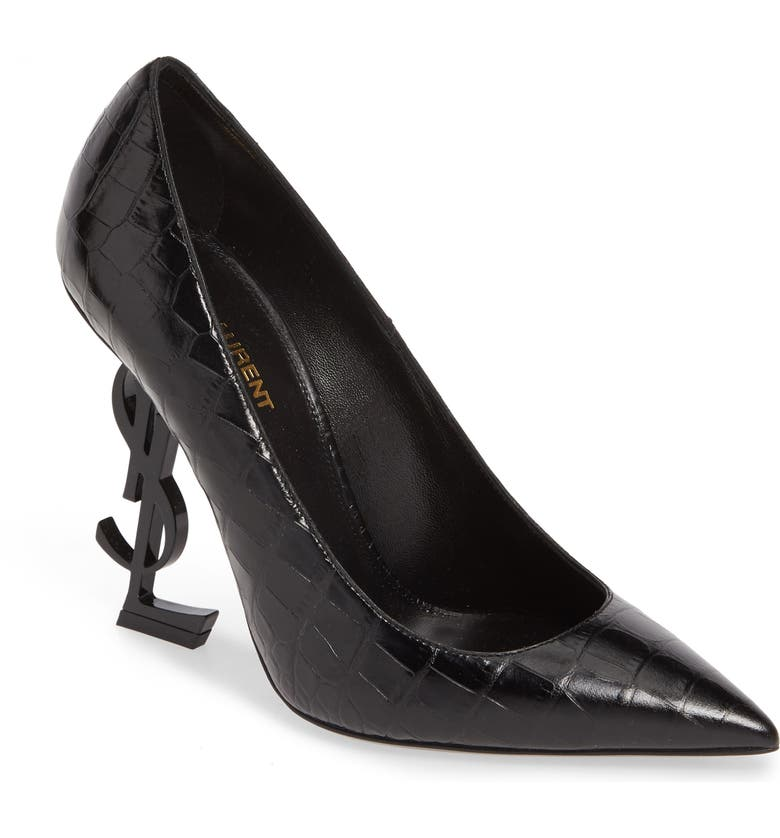 SAINT LAURENT Opyum YSL Pointy Toe Pump, Main, color, BLACK CROC