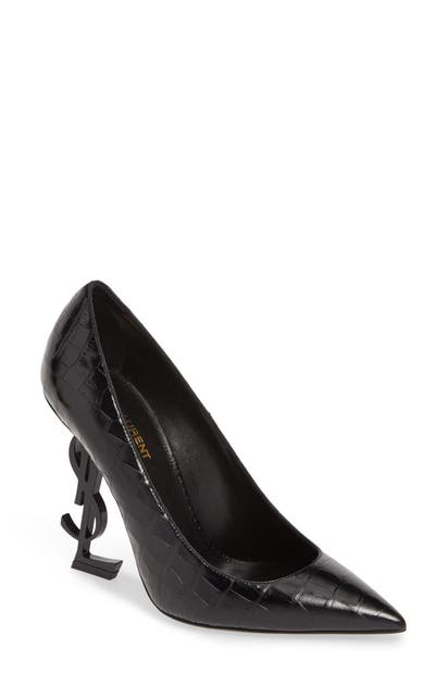 Saint Laurent Opyum Ysl Pointy Toe Pump In Black Croc