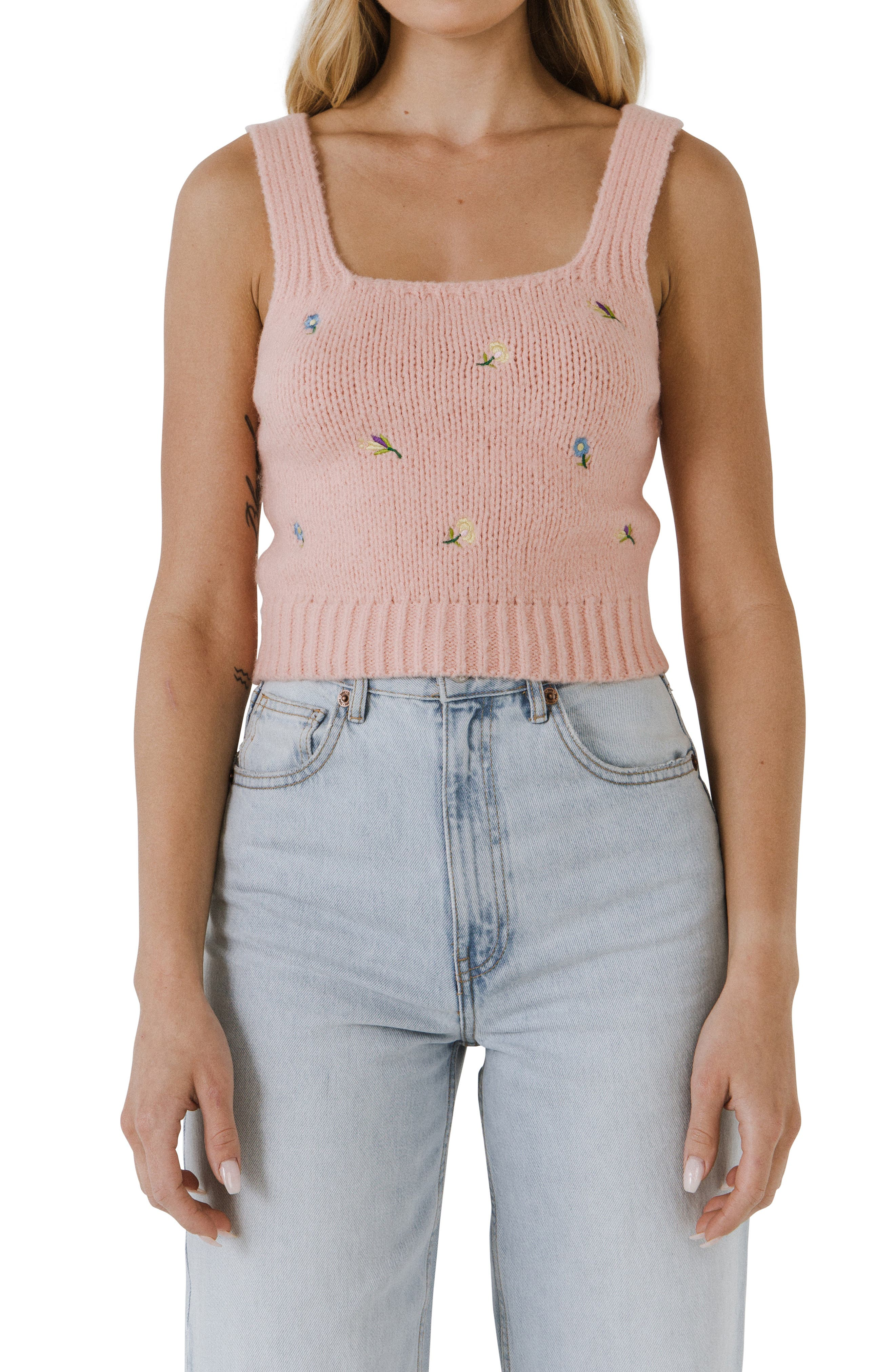 Embroidered Sweater Tank