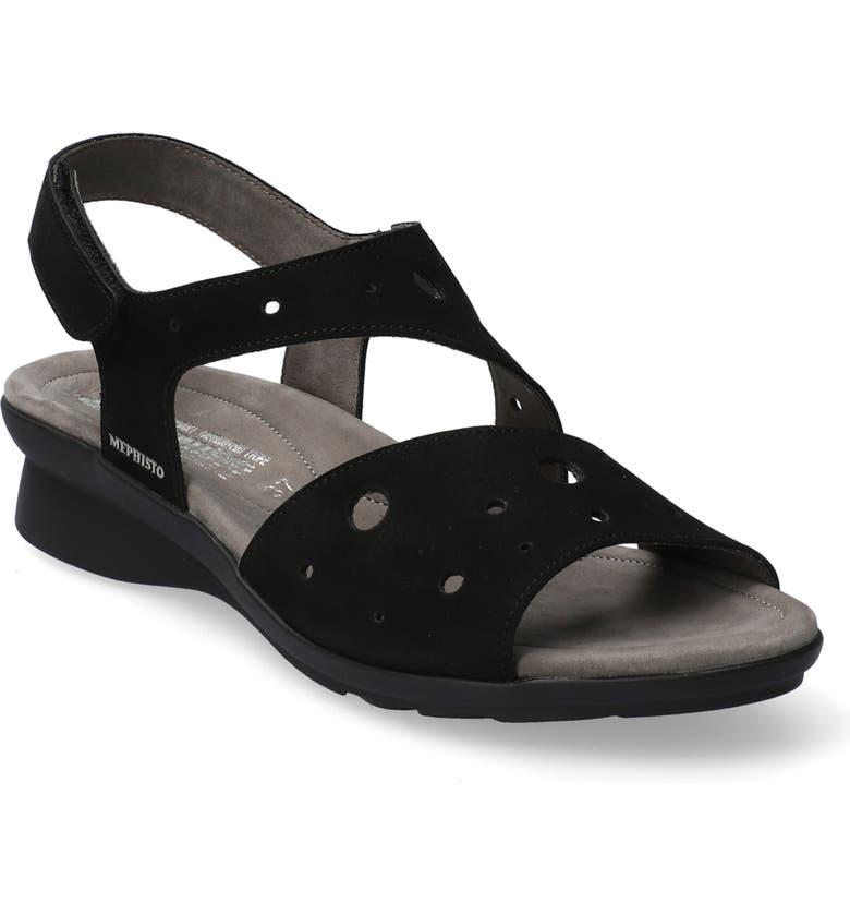 MEPHISTO Phiby Wedge Sandal, Main, color, BLACK NUBUCK LEATHER