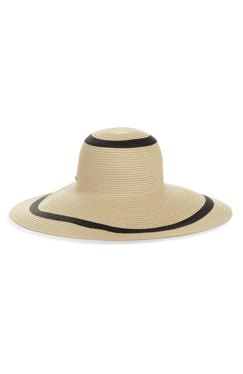 KATE SPADE NEW YORK metallic stripe sun hat, Main, color, NATURAL
