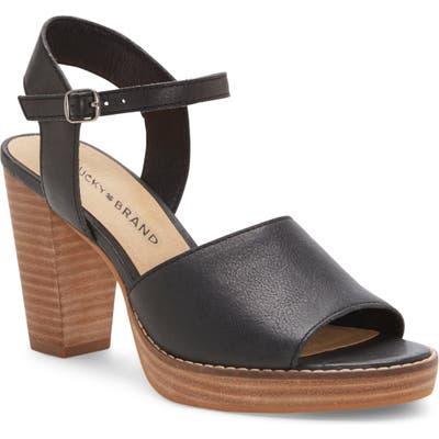 Lucky Brand Naika Ankle Strap Platform Sandal, Black