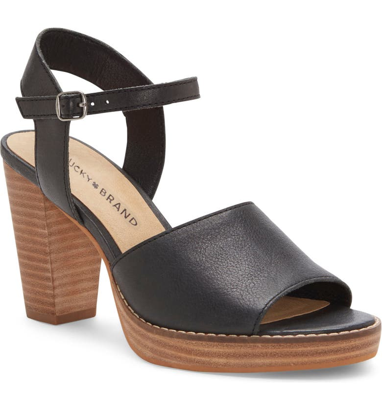 LUCKY BRAND Naika Ankle Strap Sandal, Main, color, BLACK LEATHER