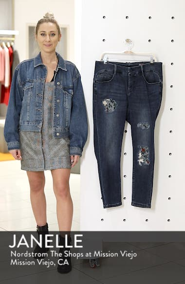 Floral Patch Ankle Skinny Jeans, sales video thumbnail