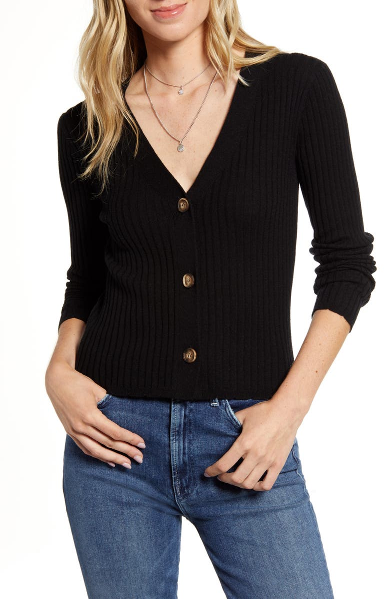 RAILS Ribbed Merino Wool & Silk Sweater, Main, color, 001