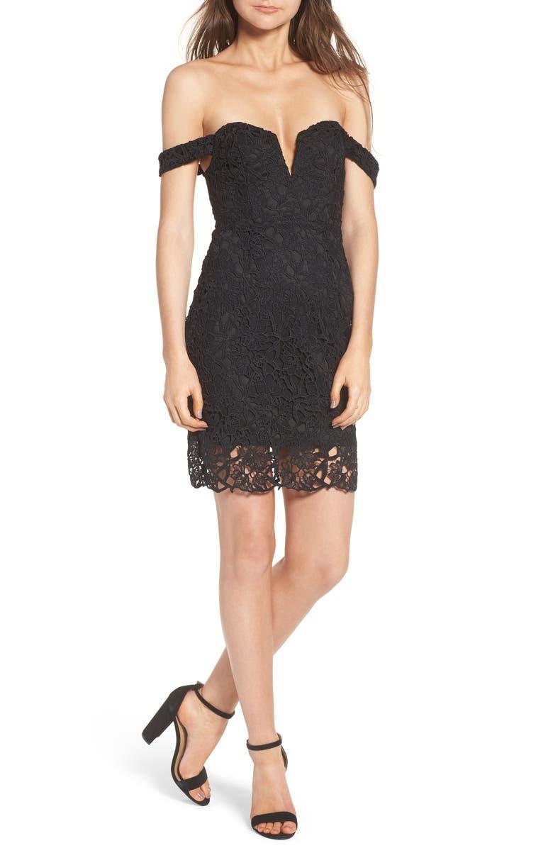 ASTR THE LABEL Lace Body-Con Dress, Main, color, 001
