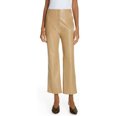 Nanushka Sora Faux Leather Crop Flare Pants, Brown