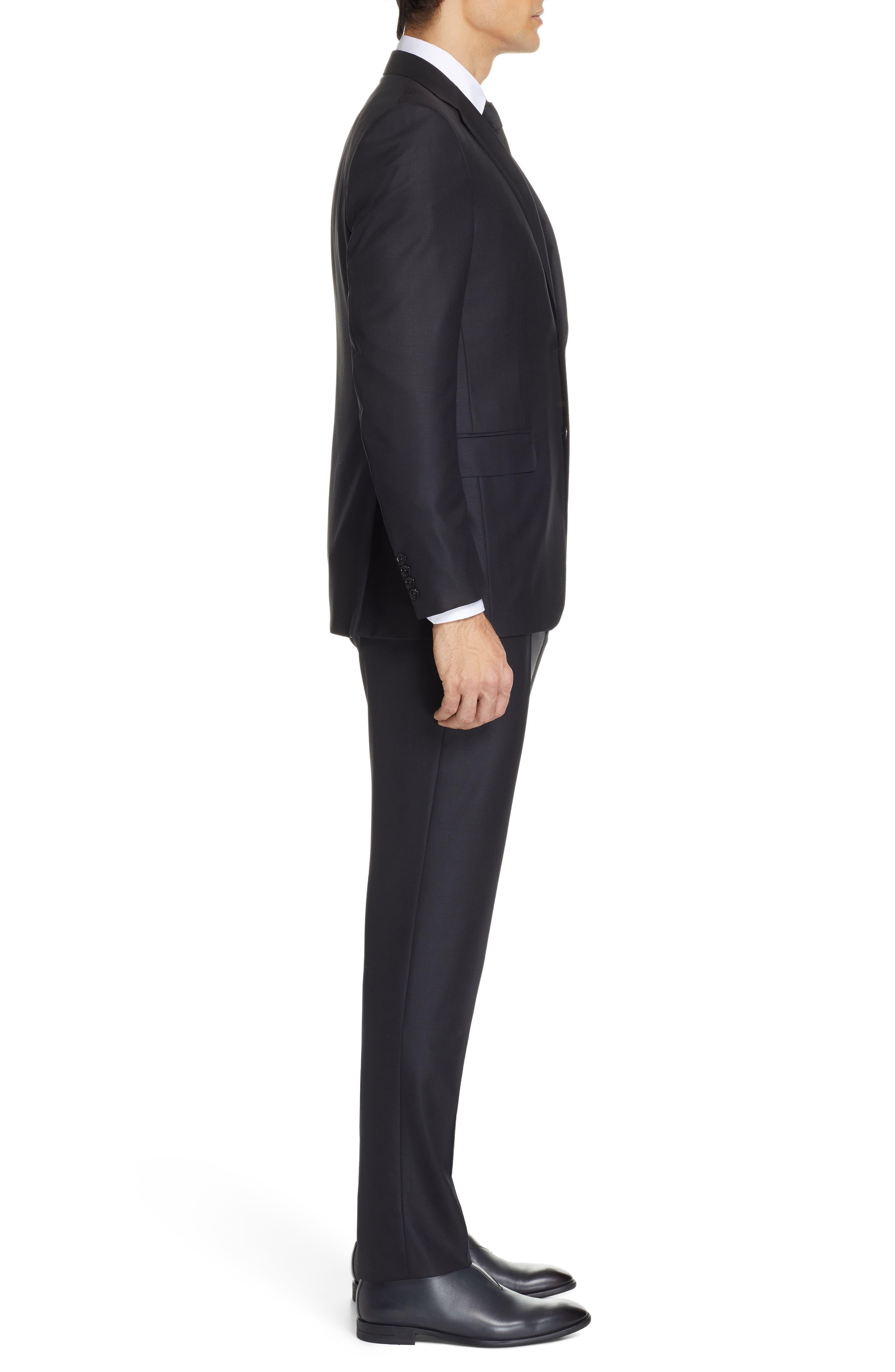 ,                             Classic Fit Plaid Wool Suit,                             Alternate thumbnail 3, color,                             BLACK
