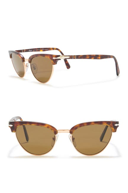 Image of Persol 51mm Polarized Cat Eye Clubmaster Sunglasses