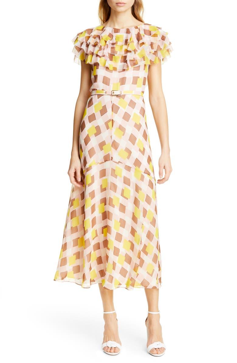 KATE SPADE NEW YORK geo print ruffle silk midi dress, Main, color, 650