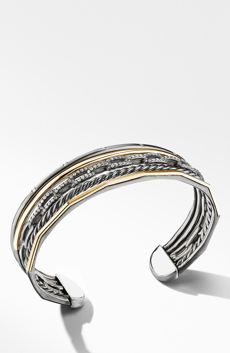 DAVID YURMAN Stax Five-Row Blackened Silver & Diamond Cuff, Main, color, BLACK RHODIUM/ GOLD/ DIAMOND