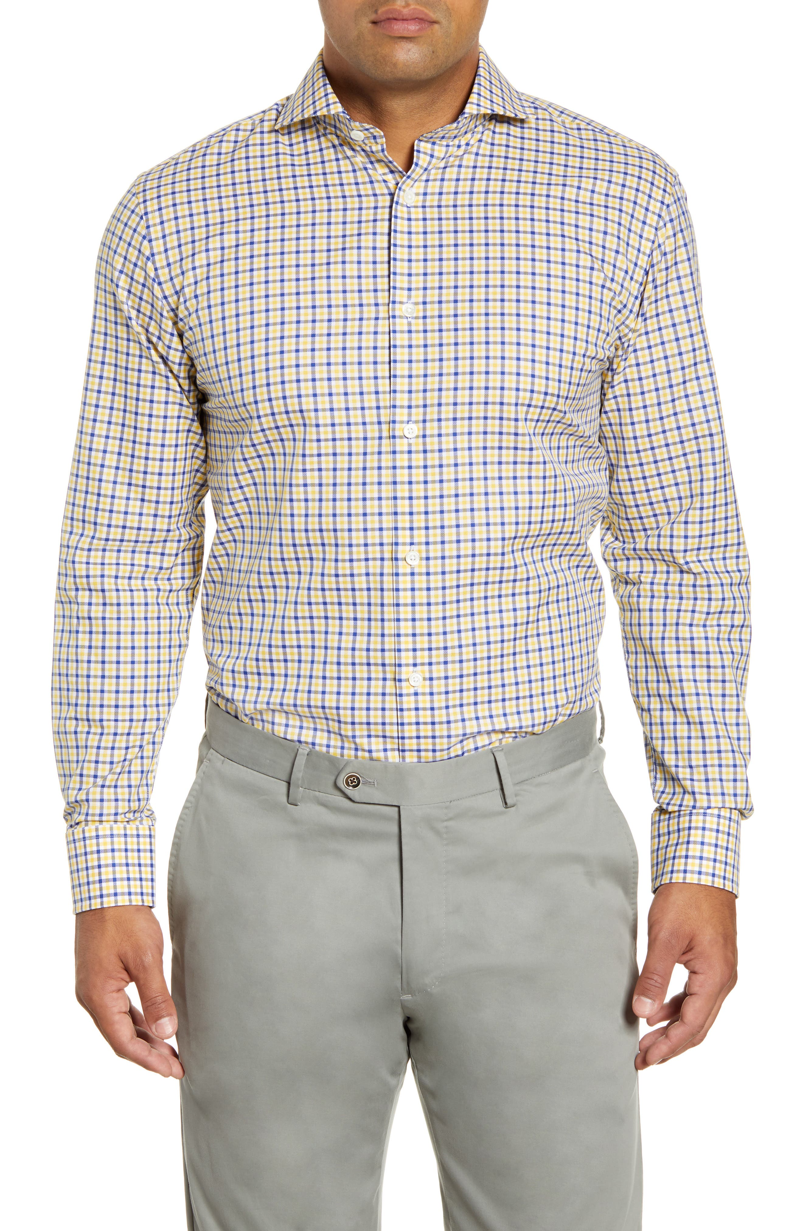 men's big & tall bugatchi trim fit check dress shirt, size 18 - yellow
