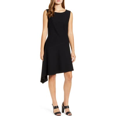 Ming Wang Asymmetrical A-Line Stretch Crepe Dress, Black