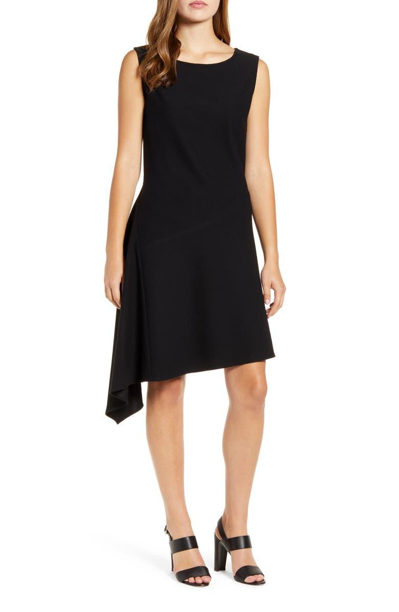 MING WANG Asymmetrical A-Line Stretch Crepe Dress, Main, color, BLACK