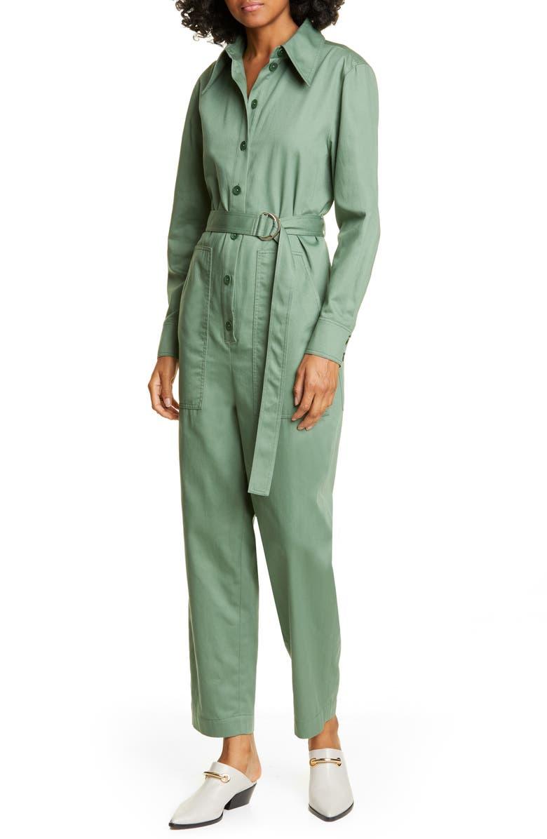 Tibi Long Sleeve Cotton Twill Jumpsuit Nordstrom