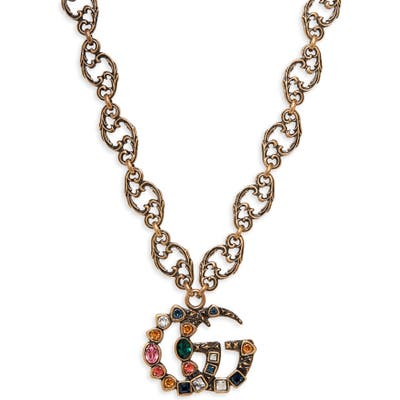 Gucci Crystal Double-G Pendant Necklace