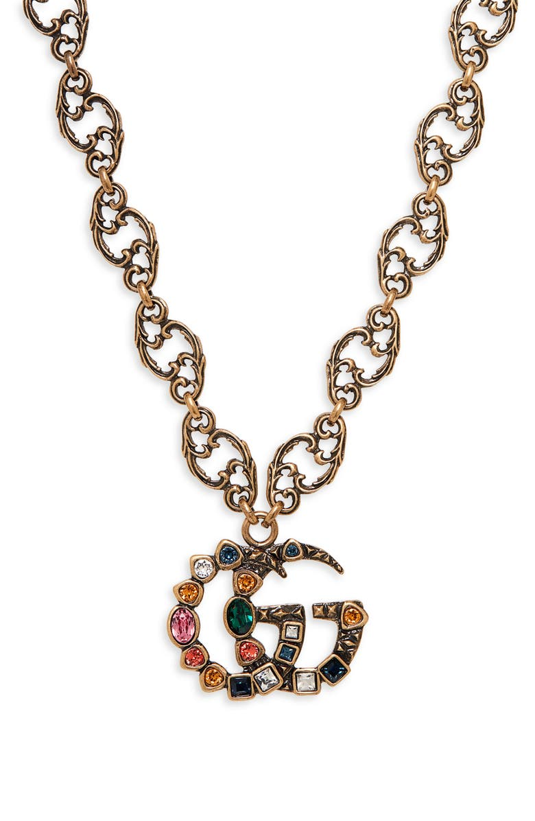 GUCCI Crystal Double-G Pendant Necklace, Main, color, GOLD/ MULTI