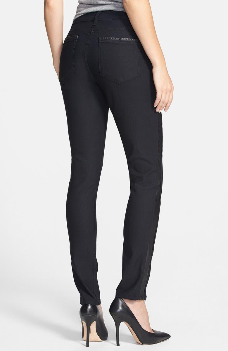 NYDJ 'Megan' Faux Leather Trim Stretch Skinny Jeans, Main, color, 460