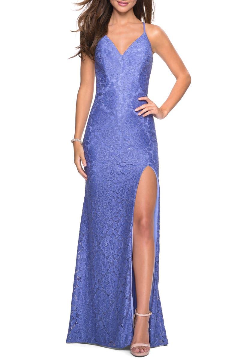 LA FEMME Strappy Back Lace Evening Dress, Main, color, PERIWINKLE