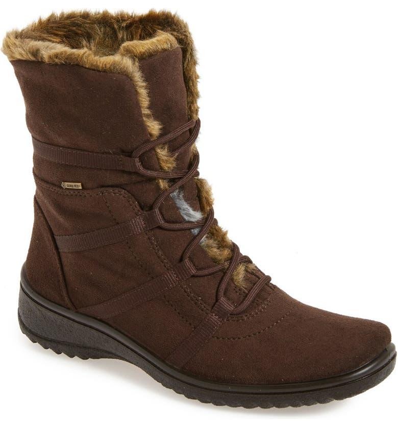 ARA Magaly Waterproof Gore-Tex<sup>®</sup> Faux Fur Boot, Main, color, BROWN FABRIC