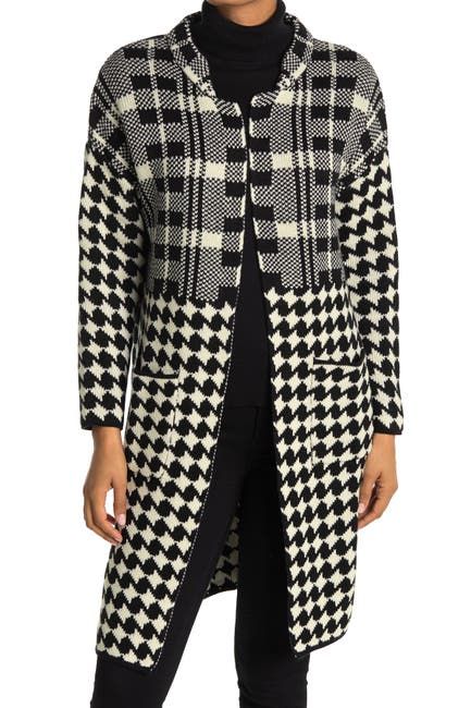 Image of Ceny Mixed Houndstooth Print Cardigan Sweater