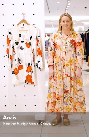 Passion Blossoms Long Sleeve Wrap Dress, sales video thumbnail