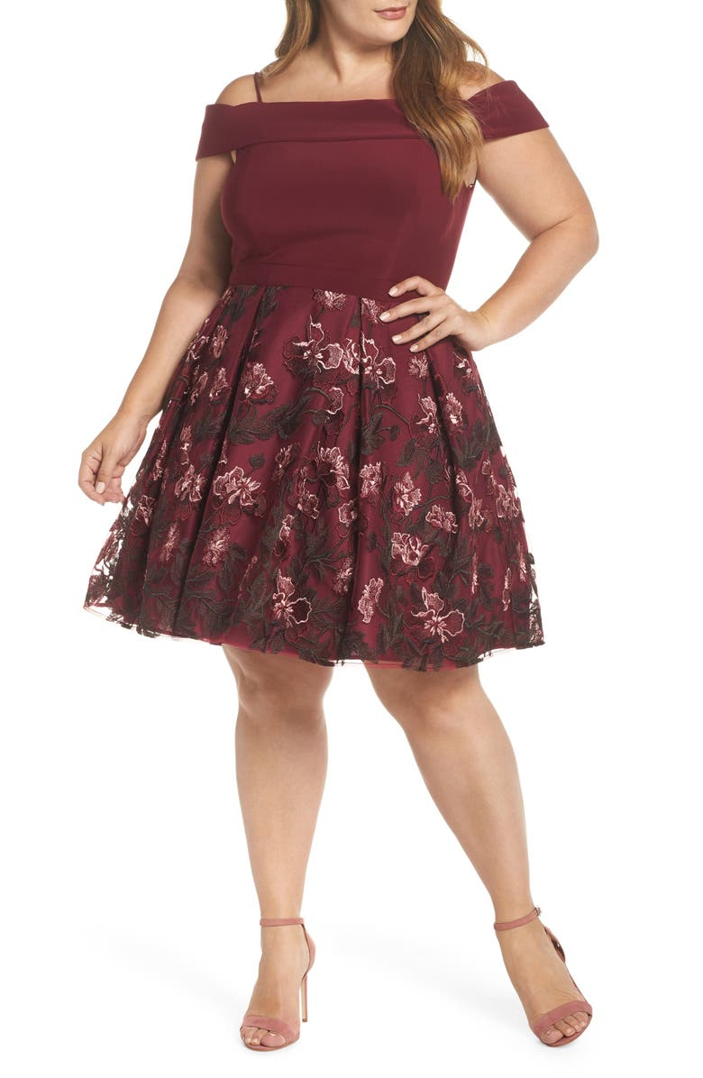 MORGAN & CO. Cold Shoulder Fit & Flare Dress, Main, color, MERLOT