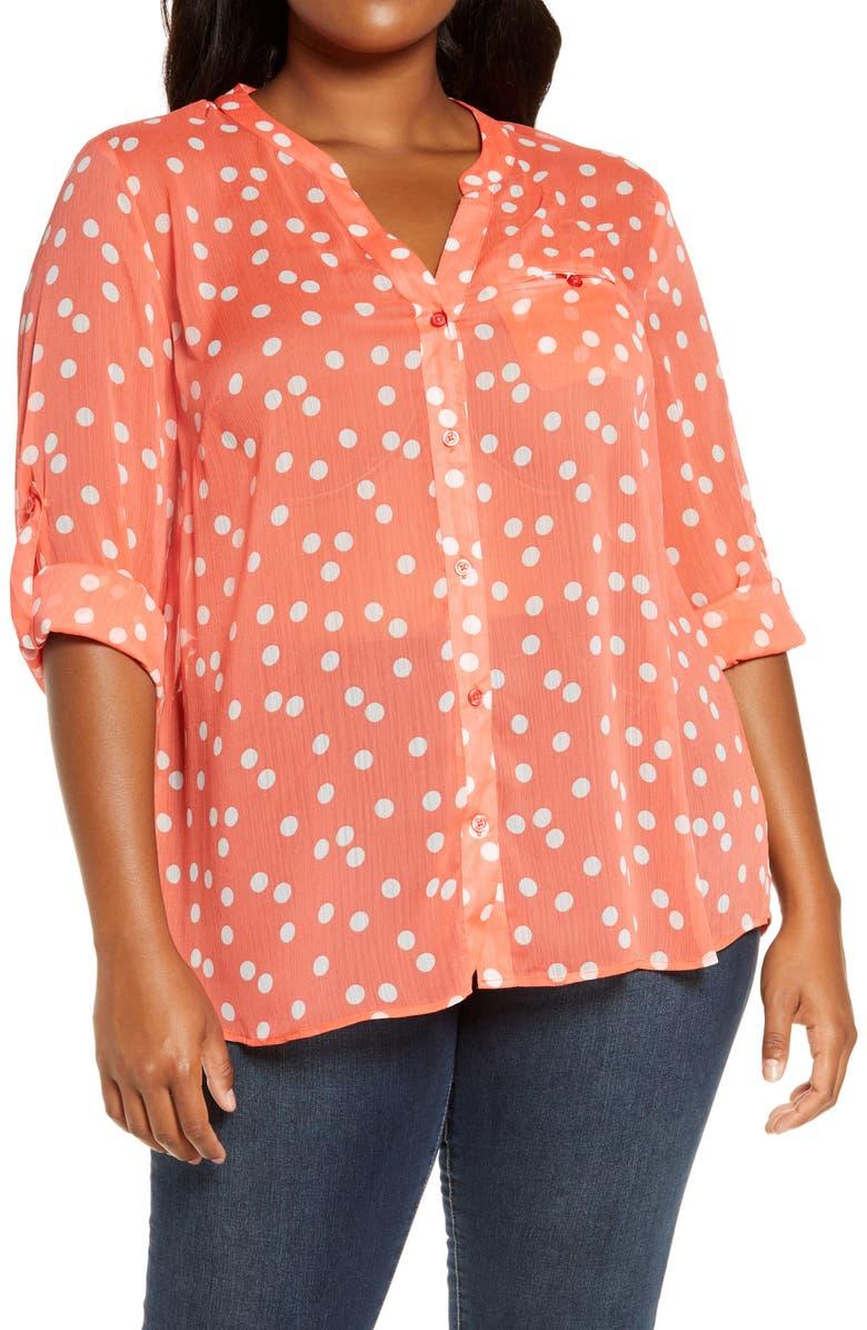 KUT FROM THE KLOTH Jasmine Roll Sleeve Top, Main, color, RANDOM DOT-ORANGE