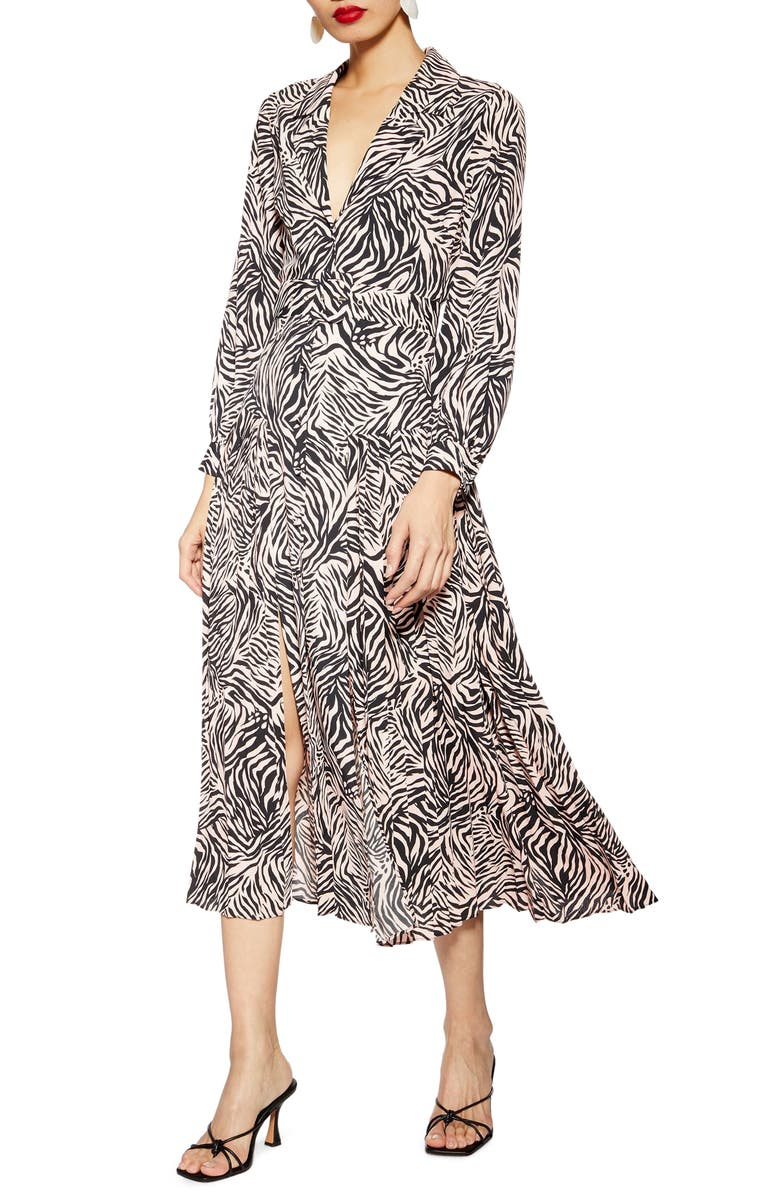 TOPSHOP Zebra Print Belted Midi Dress, Main, color, 650