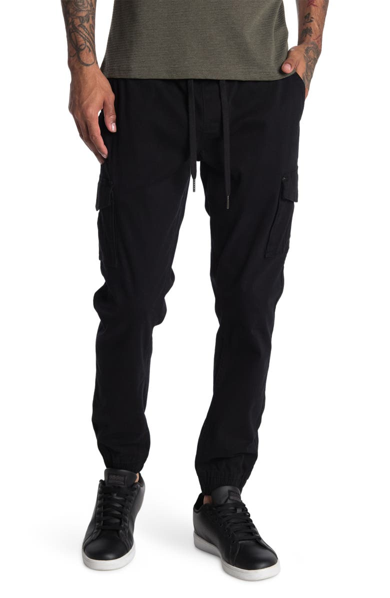 HEDGE Drawstring Cargo Shorts, Main, color, BLACK