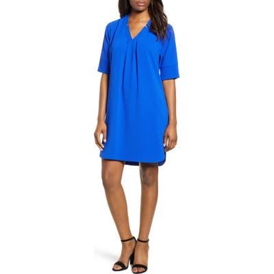 Petite Bobeau Pleat Front Curved Hem Shirtdress, Blue
