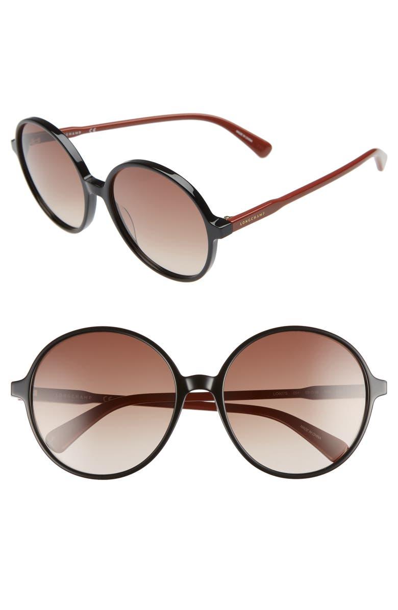 LONGCHAMP 49mm Gradient Round Sunglasses, Main, color, 001