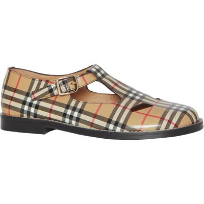 Burberry Hannie Vintage Check T-Strap Mary Jane Flat, Beige