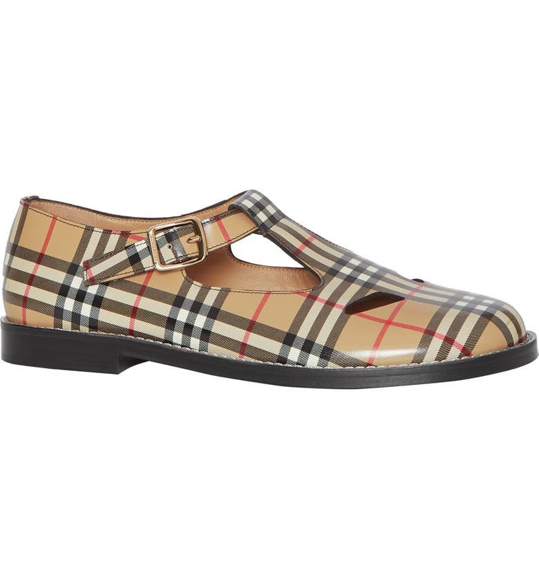 BURBERRY Hannie Vintage Check T-Strap Mary Jane Flat, Main, color, ARCHIVE BEIGE