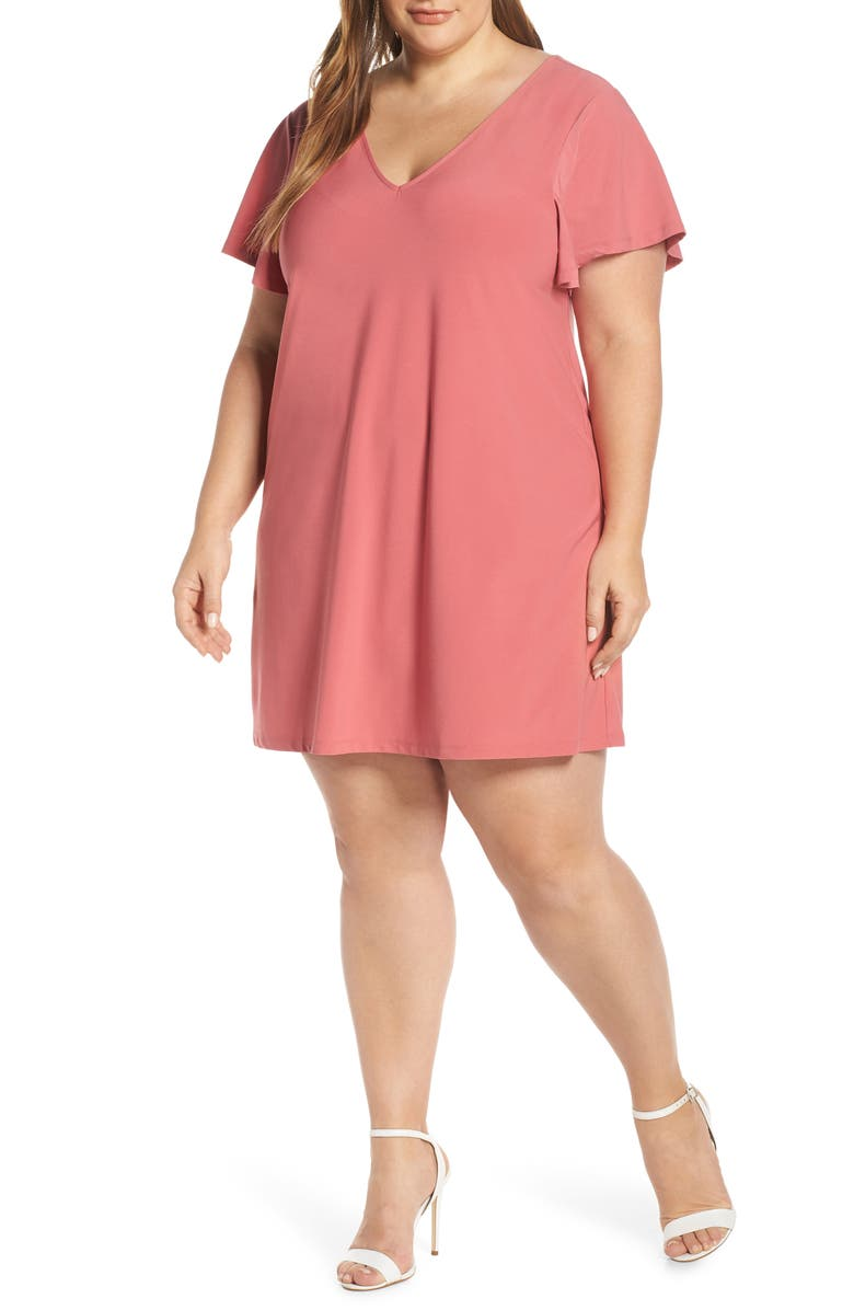 LEITH Ruffle Sleeve Shift Dress, Main, color, RED BAROQUE