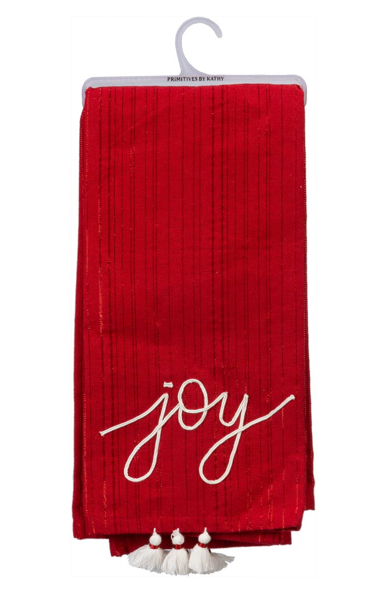 PRIMITIVES BY KATHY Joy & Believe Set of 2 Dish Towels, Main, color, RED