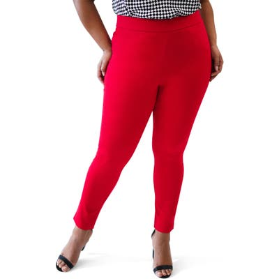 Plus Size Maree Pour Toi Compression Skinny Pants, Red