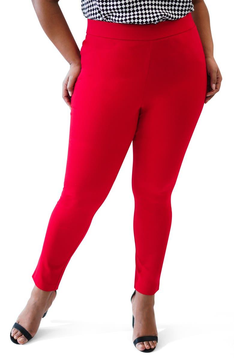 MARÉE POUR TOI Compression Skinny Pants, Main, color, RED