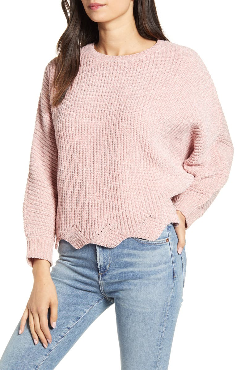 CUPCAKES AND CASHMERE Dolman Sleeve Metallic Chenille Sweater, Main, color, MAUVE