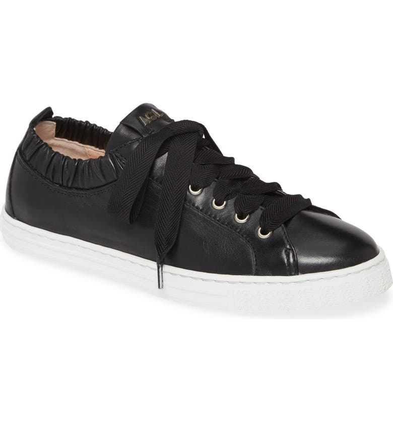 AGL Ruffle Top Lace-Up Sneaker, Main, color, BLACK LEATHER