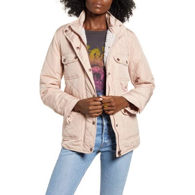 Thread & Supply Fleece Lined Quilted Utility Jacket, Pink