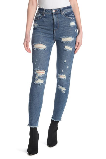 Image of Tinsel Destructed Mom Jeans