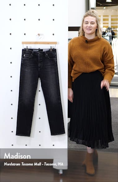 The Isabelle High Waist Button Front Ankle Straight Leg Jeans, sales video thumbnail