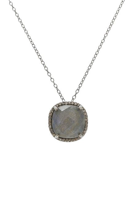 Image of ADORNIA Sterling Silver Labradorite & Diamond Lara Necklace - 0.70 ctw