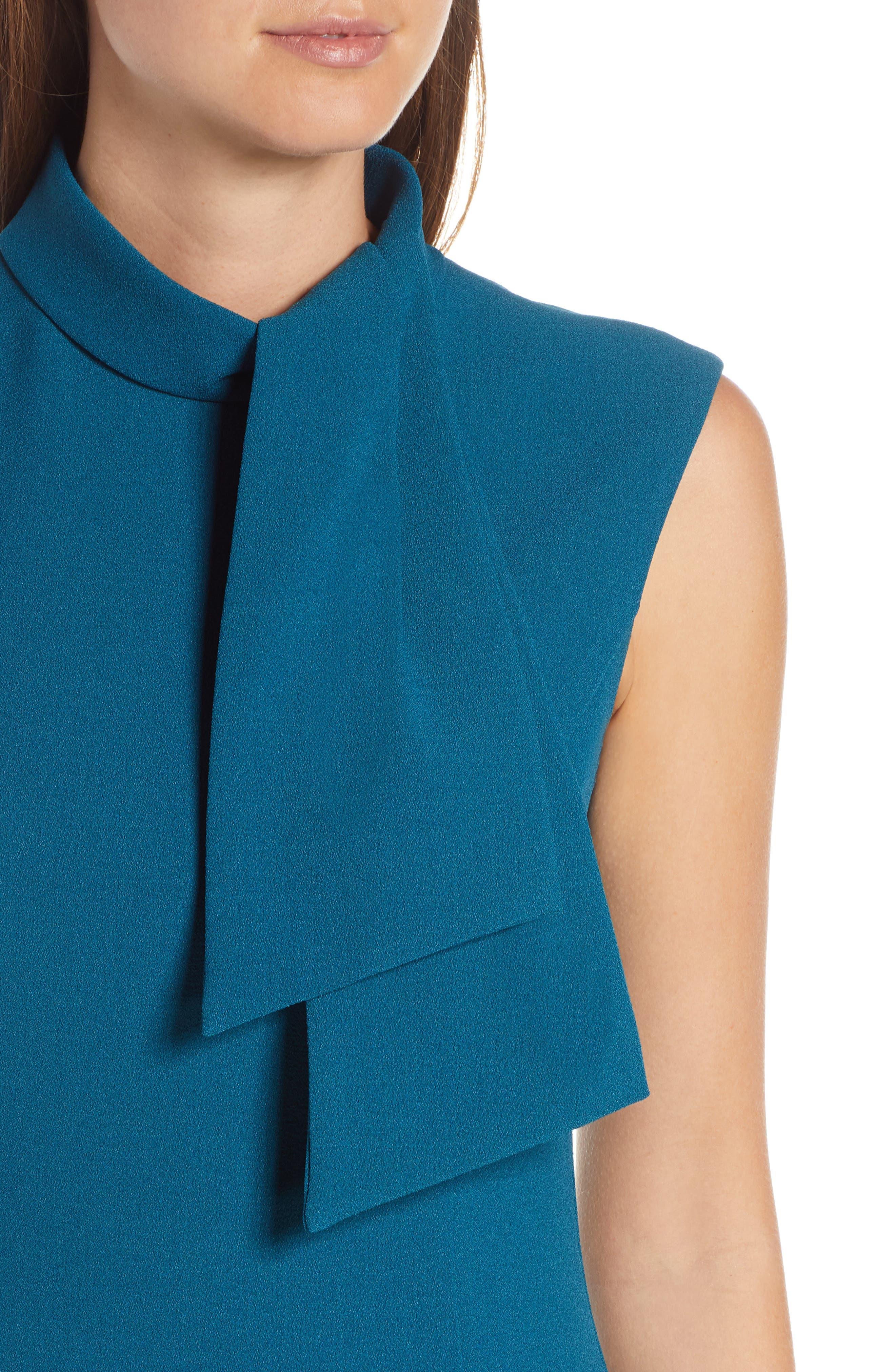 ,                             Tie Neck Sheath Dress,                             Alternate thumbnail 5, color,                             PEACOCK