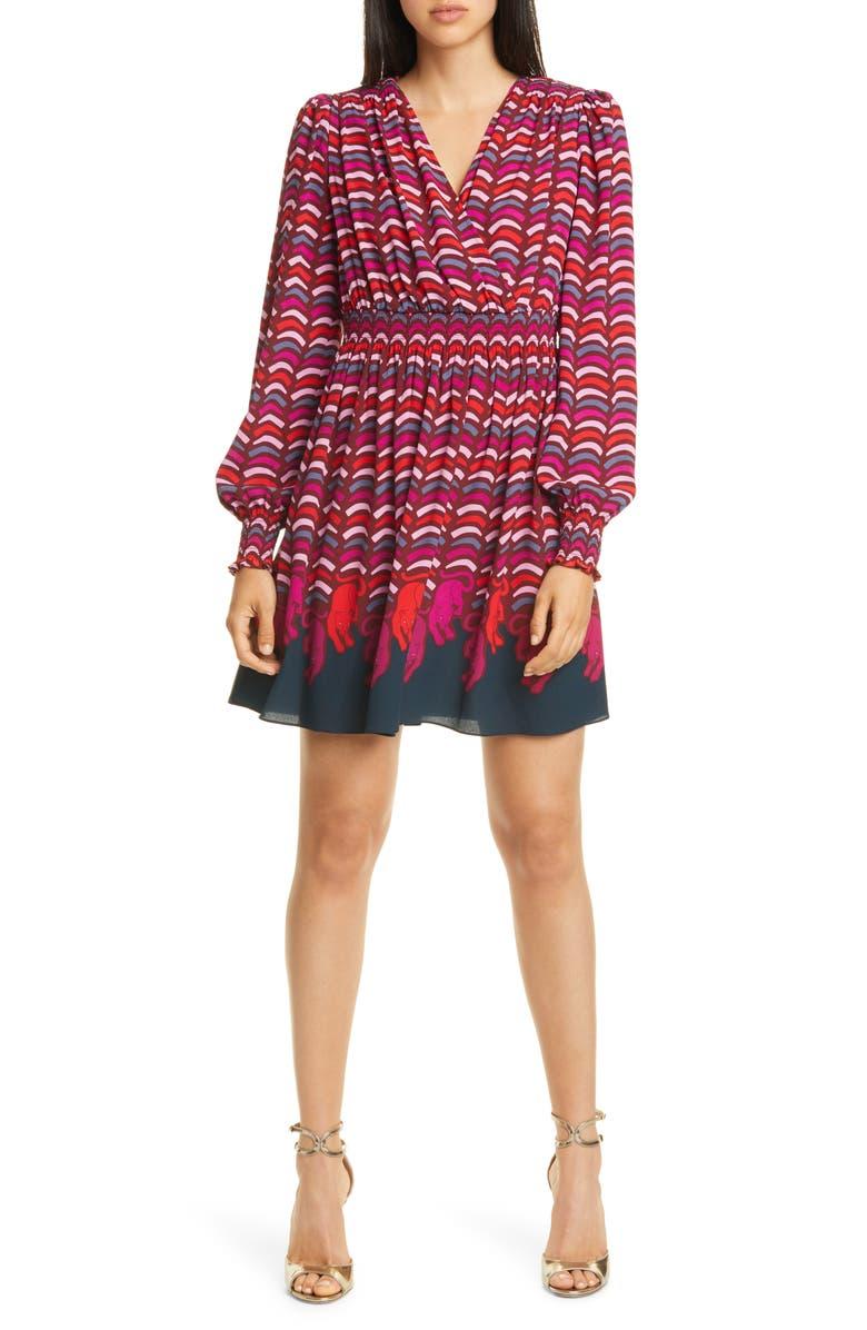KATE SPADE NEW YORK rawr print long sleeve smocked dress, Main, color, 600
