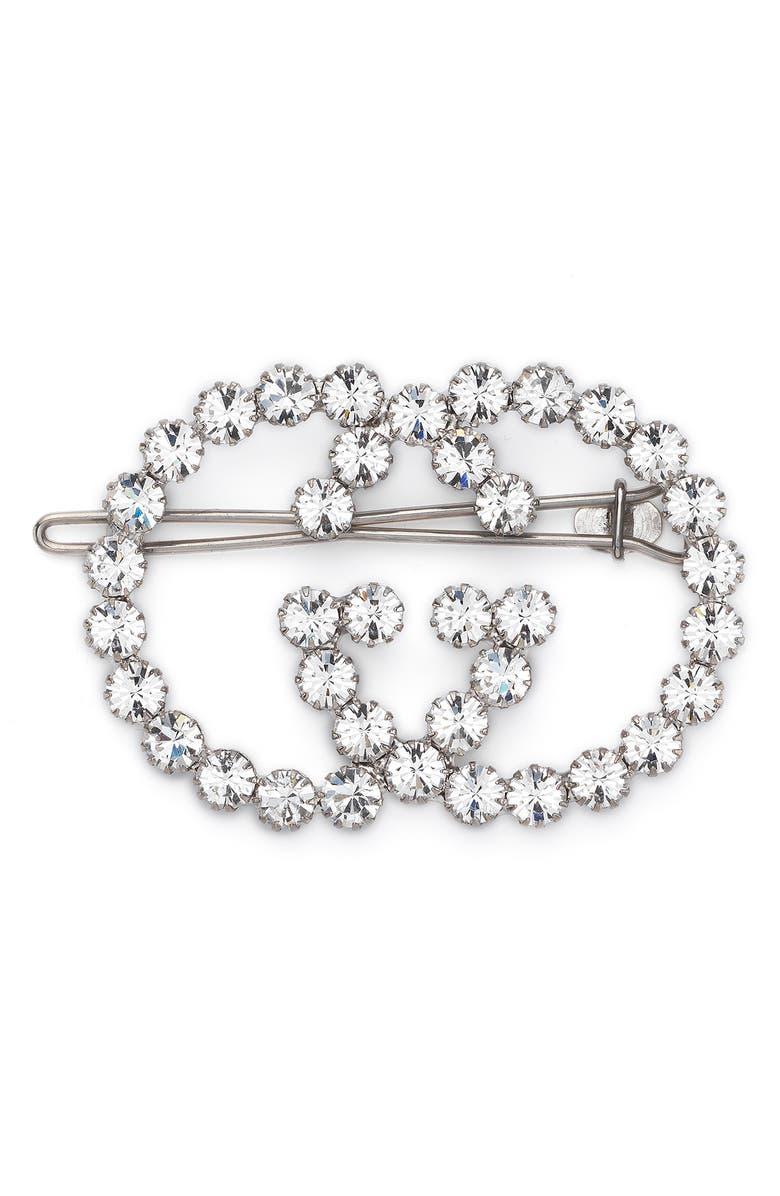 GUCCI Crystal Interlocking-G Hair Clip, Main, color, 040
