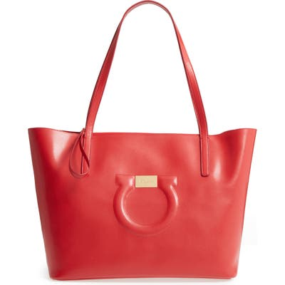 Salvatore Ferragamo City Quilted Gancio Leather Tote - Red